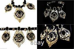 Dolce & Gabbana Gold plated Oversized black Color Swarovski Crystal Necklace