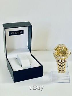 Elgin Gold Mens Skeleton Automatic Gold Plated Luxury Crystal Watch