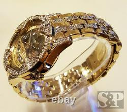 Elgin Iced Mens Skeleton Automatic Gold Plated Luxury Crystal Wrist Watch