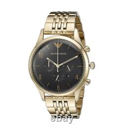 Emporio Armani Ar1893 Gold/black Mens Gold Pvd Plated Watch New With Tags