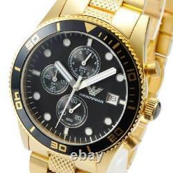 Emporio Armani Ar5857 Classic Sports Gold Plated & Black Chronograph Mens Watch