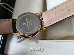 Frederique constant mens watch slimline quartz leather gold plated new in box