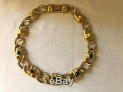 GIVENCHY New York, Paris Matte Gold Plated Large Link Stone Crystal Necklace