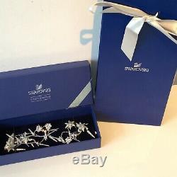 Genuine Swarovski Long Floral Necklace Rhodium Plated Sparkling Strandage Boxed