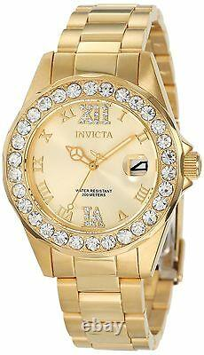 Gold Dial Invicta Womens Watch Pro Diver 18k Gold Plated Stainless Steel 15252