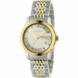 Gucci G-timeless Womens Watch Ya126514 Steel & Gold Plated Dial Rrp 690.00