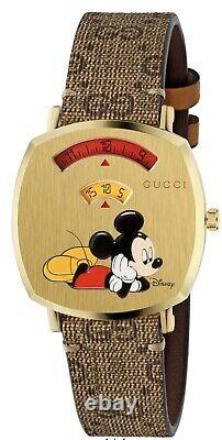 Gucci Grip Disney Mickey Mouse Gold Plated Stainless Steel Watch YA157420