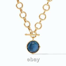 Honeybee 24K Gold Plated Statement Necklace w Iridescent Azure Blue Crystal