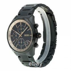Hugo Boss Grand Prix Black Ion Plated Rose Gold Chronograph Men's Watch 1513578