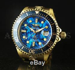 Invicta 47mm Grand Diver Auto DIAMOND Blue Abalone Dial 24k Gold Plated SS Watch