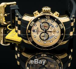 Invicta 48mm Men's Pro Diver Scuba Chronograph 18K Gold Plated IP SS PU Watch
