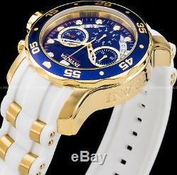 Invicta 48mm Mens Pro Diver Scuba Chronograph Blue Dial Gold Plated IP PU Watch