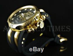 Invicta 52mm BLACK Venom Viper Chronograph 18k Gold Plated Case Day Date Watch