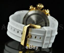 Invicta 52mm WHITE Venom Viper Chronograph 18k Gold Plated Case Silicone Watch