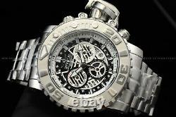 Invicta 70mm Full Sea Hunter III Swiss Movement Black Dial Silver Plated Watch