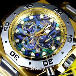 Invicta Akula Abalone Two Tone Gold Plated Steel Chronograph 52mm Watch New