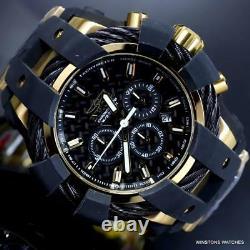 Invicta Bolt Sport Chronograph Black Carbon Fiber Gold Plated 50mm Watch New