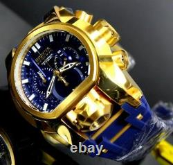 Invicta Bolt Zeus Magnum Blue Gold Plated 52mm Dual Swiss Chrono Watch 25608