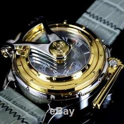 Invicta Chatham & Dover Watch Black MOP Gray Leather Gold Plated Lefty 52mm New