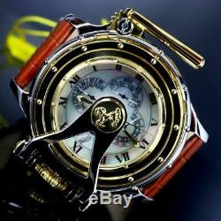 Invicta Chatham & Dover Watch White MOP Leather Gold Plated Lefty 52mm New