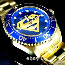 Invicta DC Comics Superman Pro Diver Gold Plated Steel Blue 44mm LE Watch New