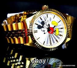 Invicta Disney Mickey Mouse Steel 18kt Gold Plated Steel Limited Ed Watch New
