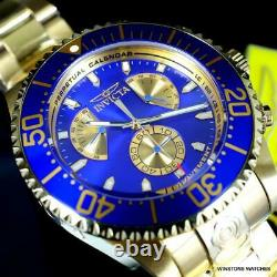 Invicta Grand Diver Master Calendar Gold Plated Steel Blue 47mm Watch New