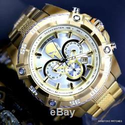 Invicta Marvel Punisher Speedway Viper Chrono Gold Plated Steel 52mm Watch New