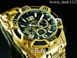 Invicta Men 50mm Pro Diver SCUBA Chrono Black Carbon Fiber 18K Gold Plated Watch