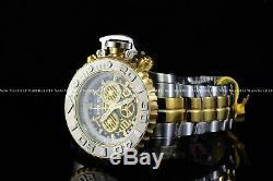 Invicta Men 70mm Full Sea Hunter III Blue Swiss Mvt Two Tone Silver Plated Watch