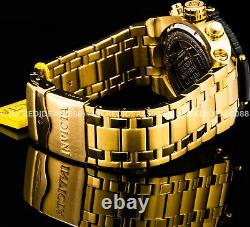 Invicta Men COALITION FORCES 18KT GOLD Plate Black Dial CHRONOGRAPH 50MM Watch