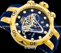 Invicta Men Envy Venom Viper Swiss Mvt Chronograph 18kt Gold Plate Blue Watch
