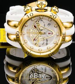 Invicta Men Envy Venom Viper Swiss Mvt Chronograph 18kt Gold Plate White Watch