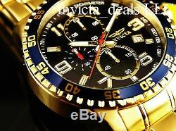 Invicta Men's 45mm Specialty Chronograph 18K Gold Plated Blue Dial SS Watch