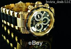 Invicta Men's 46mm CAPSULE Swiss Chronograph Black Dial 18K Gold Plated SS Watch