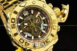 Invicta Men's 70mm Full Sea Hunter Brown Dial Swiss Chrono 18K Gold Plated Watch