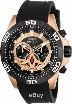 Invicta Men's Aviator Chrono Rose Gold Plated Black Polyurethane Watch 21740