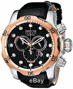 Invicta Men's Venom 1000m Rose Gold Plated Black Leather Band Watch 0360