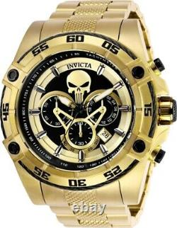 Invicta Mens 52mm Limited Edition Marvel Punisher Chrono 18k gold plated Watch