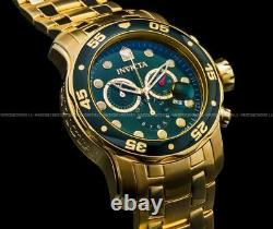 Invicta Pro Diver Scuba 18K Gold Plated Green Dial Chrono S. S Bracelet Watch NEW