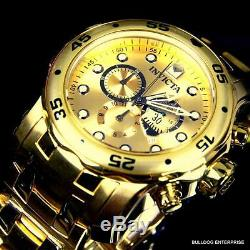 Invicta Pro Diver Scuba 18kt Gold Plated Steel Bracelet Chronograph Watch New