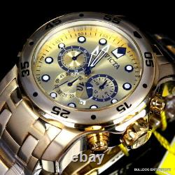 Invicta Pro Diver Scuba Gold Plated Chronograph 48mm Watch + Extra Band New