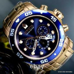 Invicta Pro Diver Scuba Rose Gold Plated Limited Edition 48mm Blue Watch New