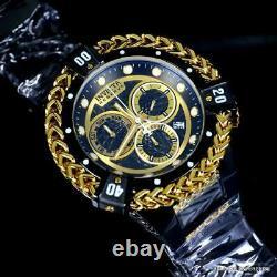 Invicta Reserve Bolt Hercules Swiss Chrono Mvt Black Gold Plated 56mm Watch New
