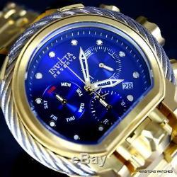 Invicta Reserve Bolt Zeus Magnum Gold Plated Steel Blue Swiss Mvt 52mm Watch New