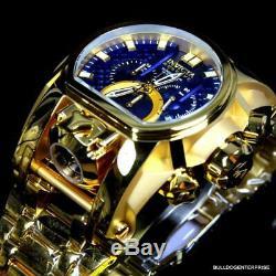Invicta Reserve Bolt Zeus Magnum Swiss 18kt Gold Plated Dual Dial Blue Watch New