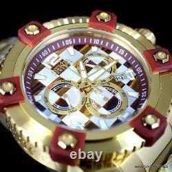 Invicta Reserve Grand Octane Mosaic 63mm Gold Plated Steel Swiss Mvt Watch New