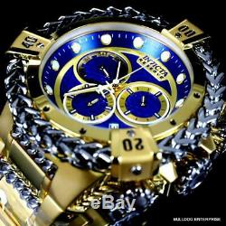 Invicta Reserve Hercules Swiss Mvt Gold Plated Steel Blue Chrono Watch 52mm New