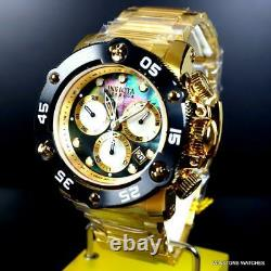 Invicta Reserve Sea Hunter Propeller Swiss Gold Plated Black MOP Watch 52mm New