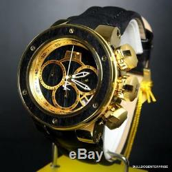 Invicta Reserve Subaqua Sea Dragon Black Wood Gold Plated Leather 52mm Watch New